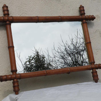 Faux bamboo mirror,  vintage mirror, french home decor, antique mirror, french antique, french chateau  industrial loft deco,  mirror