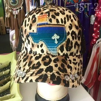 Leopard/Texas hat (Blue) from PeaceLove&Jewels