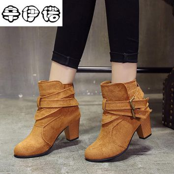 New 2017 Autumn And Spring Women Shoes Vintage Europe Star Fashion Women High Heels Ankle Boots Snow Short Boots Plus Size 35-43