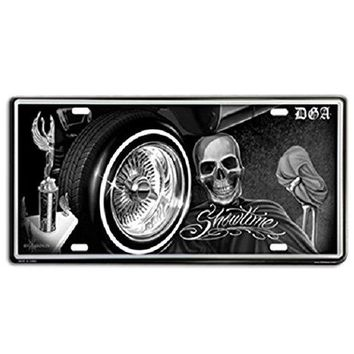 DGA Day of the Dead Low Rider Skull Showtime Retro Vintage Auto License Plate Tin Sign 12 X 6 inches