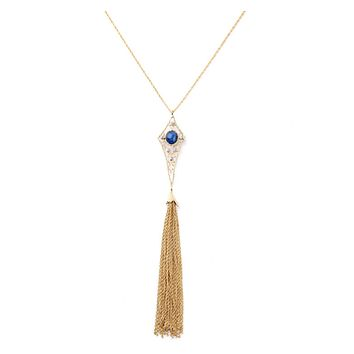Angel Hair Tassel Long Necklace in Gold