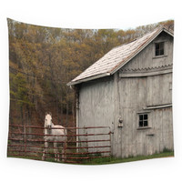 Society6 Farm With Barn And Horse Wall Tapestry