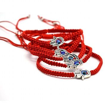 Red Thread Braided Rope Evil Blue Eye Charm Bracelet