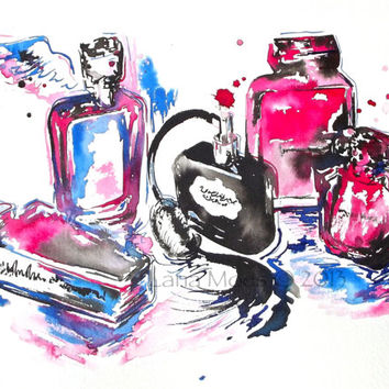 Original Glass Parfume Watercolor Painting - 10 x 14 Still Life Illustration