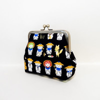 Metal Frame Pouch Coin Purse Clutch Japanese Statues on Black