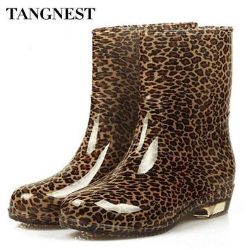 Tangnest 2017 Fashion Woman Colorful Rubber Shoes Round Toe Low-heel Ankle Rain Boot