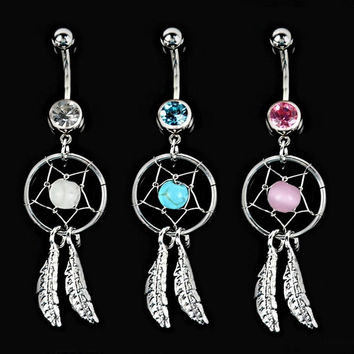 Crystal Gem Dream Catcher Navel Dangle Ring Body Art Belly Barbell Button Bar D_L = 1713250244