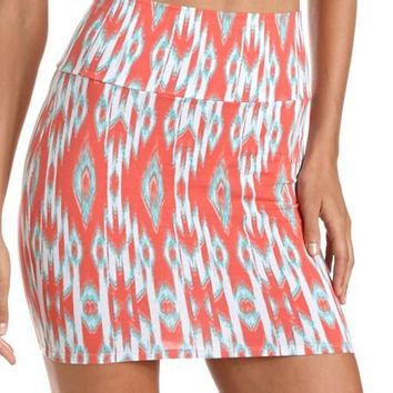 Coral Ikat Body-Con Skirt: Charlotte Russe