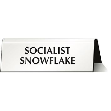 Socialist Snowflake Nameplate Desk Sign in White