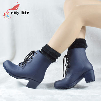 High Heels Winter Autumn Rain Boots With Sock Warm Women Water Shoes Platform Waterproof Rainboots Motorcycle Botas Mujer