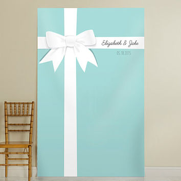 Personalized Something Blue Photo Backdrop, Ceremony Background, Tiffany Blue Decoration, Photo Booth Props