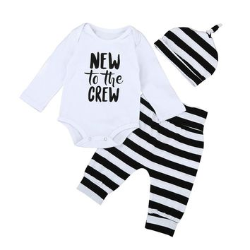 "Baby Boy ""New to the Crew"" Bodysuit, Hat & Pant Set"