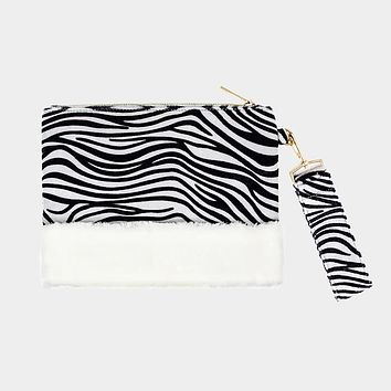 Zebra Animal Print Fur Clutch Bag