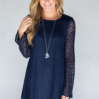 Lace Overlay Dress - Navy