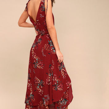 Amal Burgundy Floral Print Wrap Maxi Dress