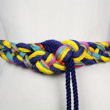 braided belt / fabric belt / tassel belt / multi color / hippie boho / festival belt / statement accessory