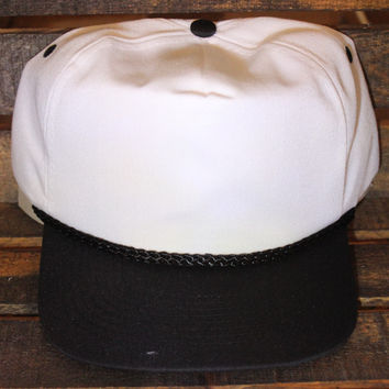 White / Black Polyester Golf Cap