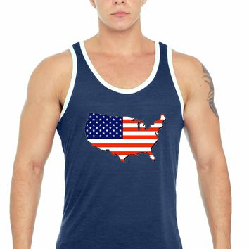 USA Flag Tank Top Men's Love For Your Country NAVY