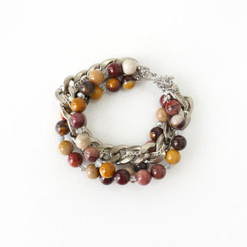 Chunky Stacked Bracelet of Mookaite Jasper Stone Beads and Curb Chain, Neutral Color Combination Jewelry