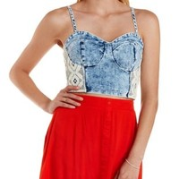 Lt Wash Denim Crochet-Trim Acid Wash Bustier Top by Charlotte Russe