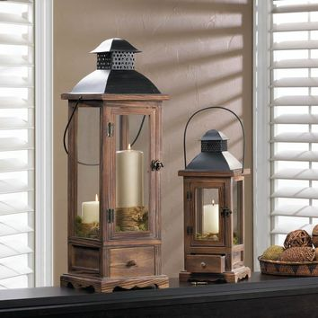 Candle Lanterns-Unique Wood Pull-Out Drawer Metal Top 2 Sizes
