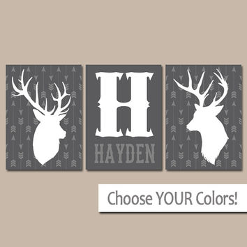 DEER Arrow Wall Art, CANVAS or Prints GRAY Rustic Country Artwork,Baby Boy Nursery, Boy Name Bedroom Pictures Set of 3 Tribal Woodland Decor