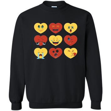 Heart Emoji  for Valentines Day - Show Your Love Printed Crewneck Pullover Sweatshirt