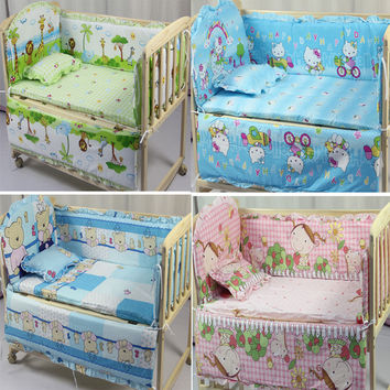 2016 Real Baby Cot 5 Pcs Baby Bedding Set Kitty Character Crib Cotton Bedclothes Include Pillow Bumpers Mattress 120*70cm