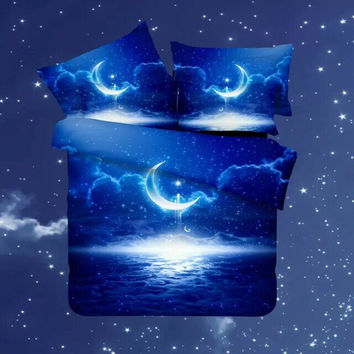3D bedding set Queen/Twin size beddings and bed sets duvet cover set with bed sheet bedclothes  Star Galaxy space nasa
