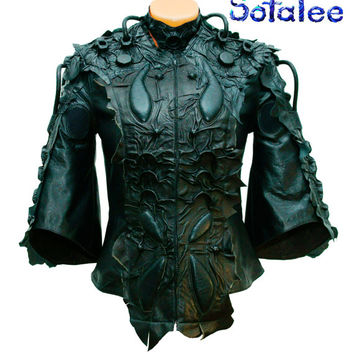 Womens real leather jacket black color short sleeves with mittens, collar. Guarantee high quality. Exclusive handmade  Unisex. In stock!