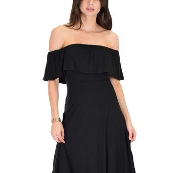 Lyss Loo Wait And See Off The Shoulder Black Midi Dress