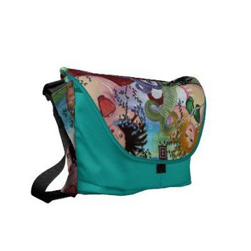 3 Colorful Mermaids Folk Art Messenger Bag from Zazzle.com