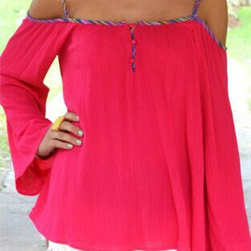 Red Spaghetti Strap Flared Sleeve Blouse
