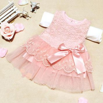 Baby Girls Sleeveless Lace Crochet Princess Dress Kids With Bow Belt Party Dresses