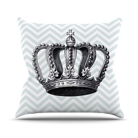 "Suzanne Carter ""Crown"" Blue Black Throw Pillow"