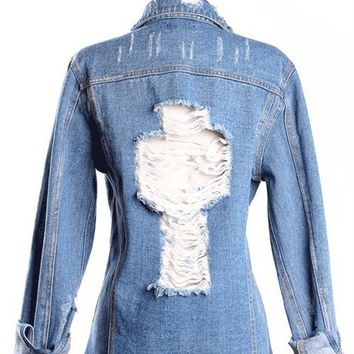 Raw Edge Spikes & Cross Cut-Out Back Denim Jacket In Blue Washed | Thirteen Vintage