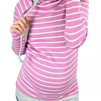 Rose Carmine Striped Drawstring Zipper Cowl Neck Casual Hooded Maternity Sweatshirt