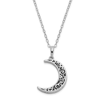 Antiqued Sterling Silver Crescent Moon Ash Holder Necklace, 18 Inch