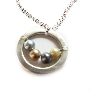 Circle Pearl Necklace Wire Wrapped Choice of Bead Pendant silver plated chain Jewelry Birthday wedding