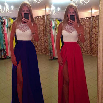 Lace sleeveless O-neck slit dress summer autumn women tank floor length pleated dress robes femmes vestido de festa