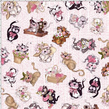 Tossed Fancy Cats Pink Fabric