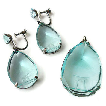 Japan Sterling, Pendant Earrings, Aquamarine Crystal, Silver, Mount Fuji, Japanese Bench, Nature Scenic, Vintage Jewelry