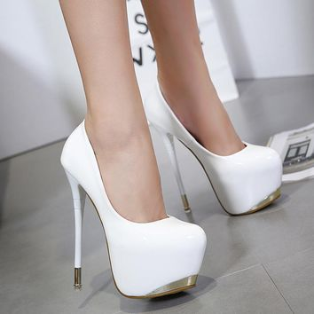 Round Toe Platform Low Cut Super High Stiletto Heels Prom Shoes