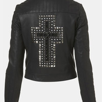Topshop 'Cross' Studded Faux Leather Jacket | Nordstrom