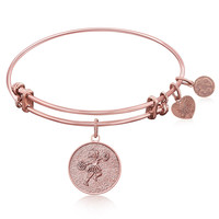 Expandable Bangle in Pink Tone Brass with Cheerleader Symbol