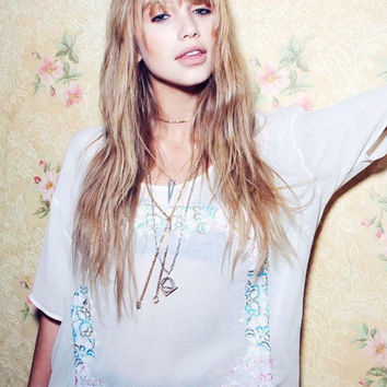 Chaser Antique White Chaser Floral Embroidery Boxy Flow Tee