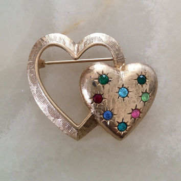 Rhinestone Heart Pin or Brooch, Emmons Vintage Jewelry, NEW YEAR SALE