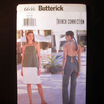Women's Halter Top, Skirt, Pants Misses Sizes 6, 8, 10 Butterick 6646 Sewing Pattern Uncut