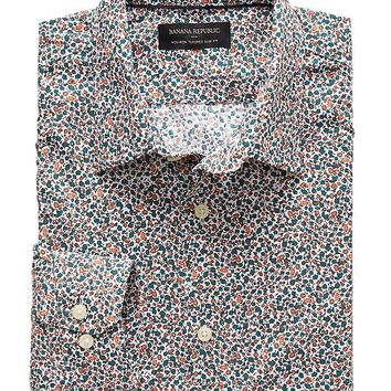 Banana Republic Mens Factory Tailored Slim Fit Non Iron Floral Print Shirt