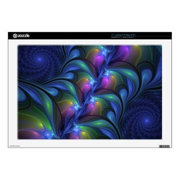 Colorful Luminous Abstract Blue Pink Green Fractal Laptop Skins
